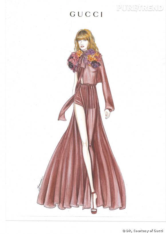 Croquis d'une robe de scène pour Florence Welch signée Frida Giannini.