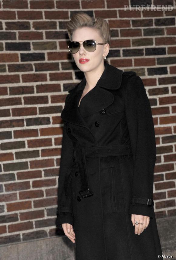 "Scarlett Johansson visite ""The Late Show With David Letterman"" à New York."