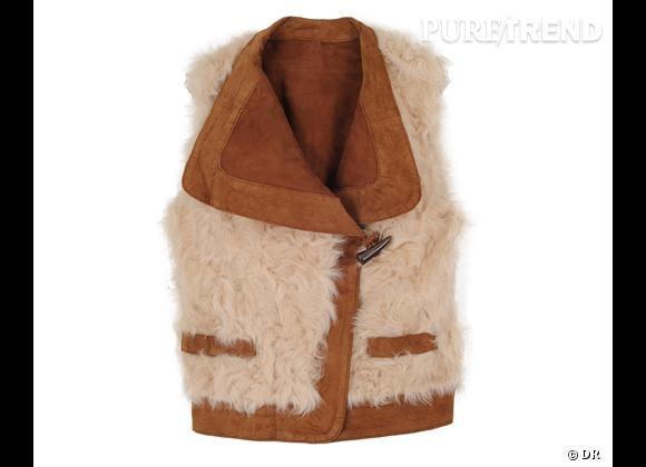 Zoom sur le mouton !     Gilet  Louve  en cuir et mouton retourné, Les Petites, 475 €.