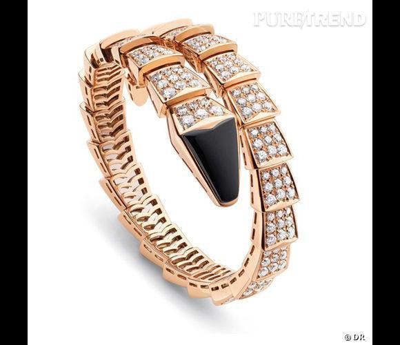 """Bracelet """"Serpenti"""", Bulgari   Bracelet en or rose, onyx et pavage diamants.      Prix sur demande"""