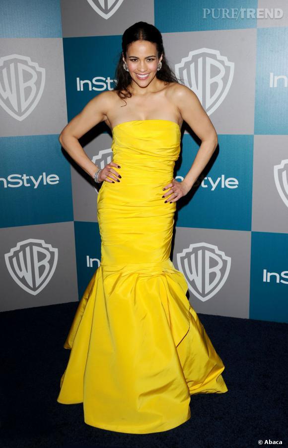 Paula Patton éclatante dans sa robe jaune canari Monique Lhuillier.