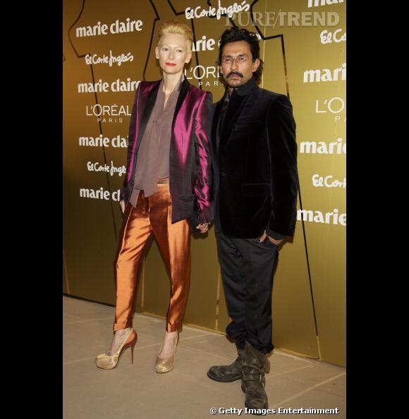 Tilda Swinton aux côtés du créateur Haider Ackermann.