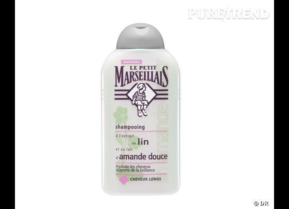 Shampooing au lin et au lait d'amande douce, Le Petit Marseillais, 2,94 €.
