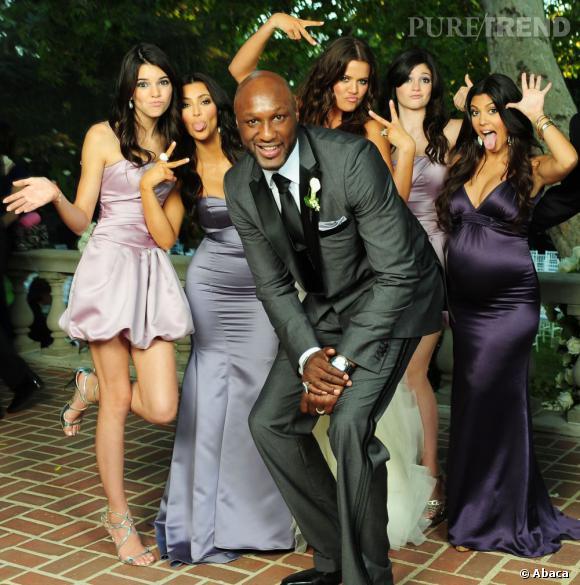Pas vraiment traditionnelle, la photo de mariage de Klhoe Kardashian et du joueur de basket Lamar Odom.
