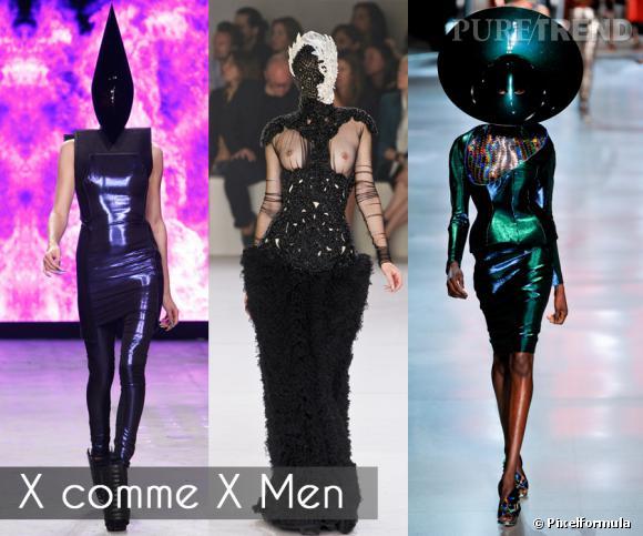 X comme X Men       Si les silhouettes excentriques sont plutôt de sortie sur les podiums de la Haute Couture, les collections prêt-à-porter de l'été 2012 ont leur lot de freaks, mutantes, extra terrestres, ou autres super héroïnes du catwalk.     Défilés Gareth Pugh, Alexander McQueen et Paco Rabanne printemps-été 2012
