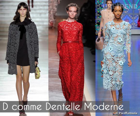 D comme Dentelle Moderne       Pas une seule saison sans dentelle. L'été 2012 affiche un net penchant pour la guipure, façon broderies anglaises XXL revisitées. En superposition, sur des matières shiny ou version colorées pour plus de modernité.    Défilés Miu Miu, Valentino et Dolce & Gabbana printemps-été 2012.