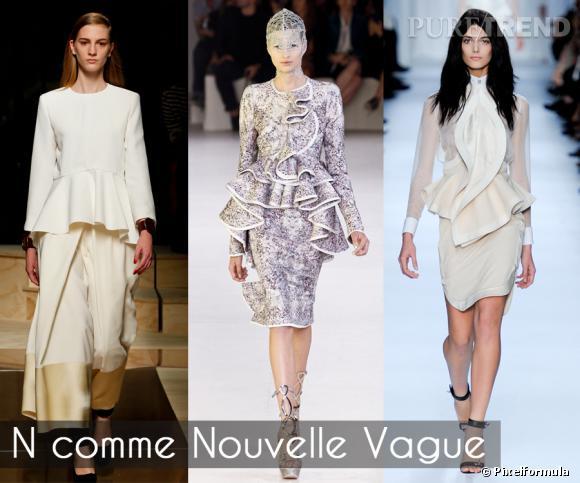 """N comme Nouvelle Vague       On n'a pas trouvé mieux pour sublimer la taille et sculpter la silhouette : la basque à volants. Longtemps réservée aux pièces Haute Couture, elle se démocratise, et s'offre une version """"froufroutante"""" et 3D pour l'été.    Défilés Celine, Alexander McQueen et Givenchy printemps-été 2012"""