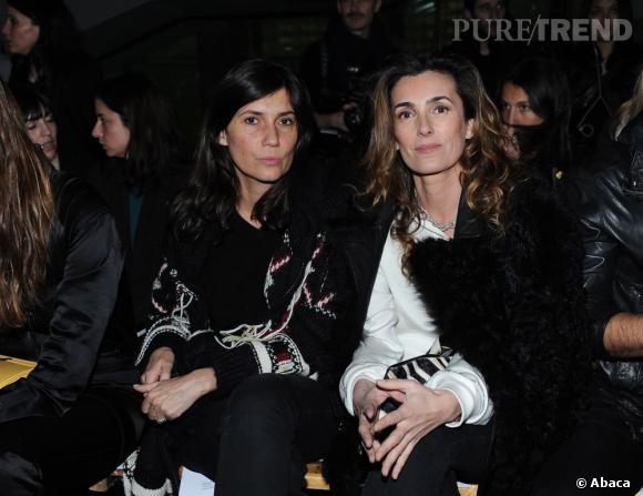 Emmanuelle Alt et Mademoiselle Agnès au défilé Anthony Vaccarello.