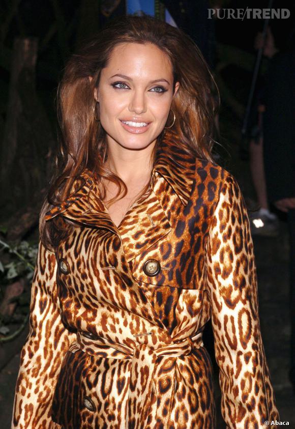 Angelina Jolie se la joue tigresse avec un brushing XXL et son manteau léopard.
