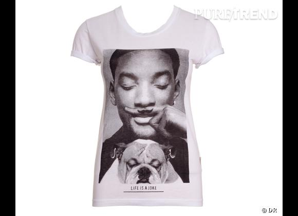 "Tendance vue chez les stars, le shopping : le t-shirt de fan T-shirt Will Smith ""Life is a Joke"", Eleven Paris, 39 €"