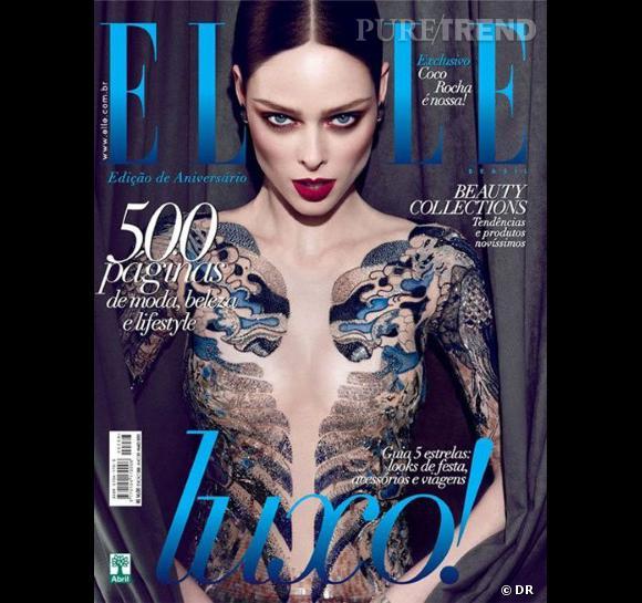 Coco Rocha un peu trop dénudée en couverture pour le Elle Brésil de mai 2012.