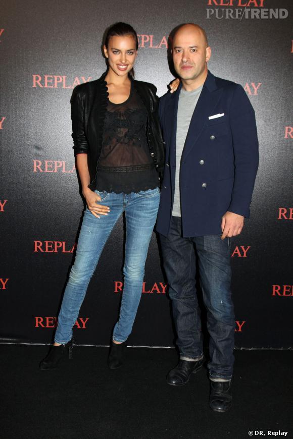 Irina Shayk en Replay et Matteo Sinigaglia.