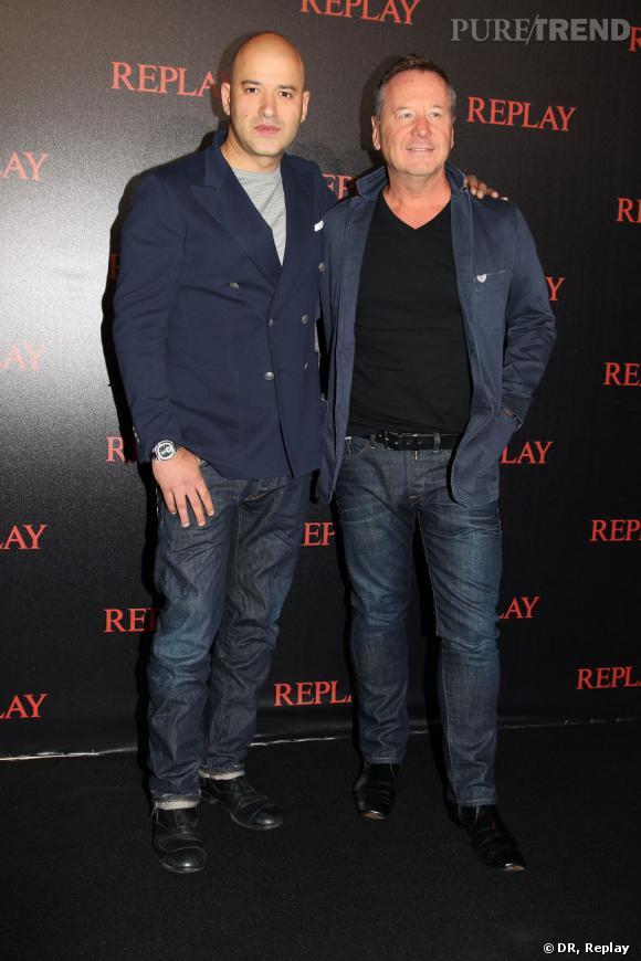 Matteo Sinigaglia, CEO de Replay et Jim Kerr du groupe Simple Minds en Replay.