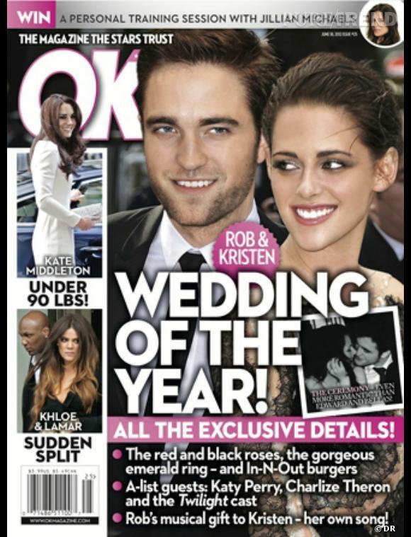 Mariage de Robert Pattinson et Kristen Stewart en couv' du magazine OK!