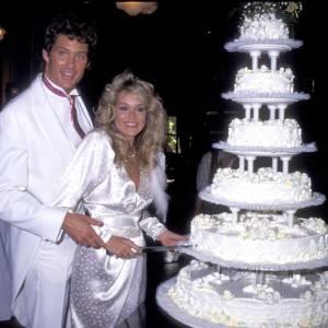 David Hasselhoff lors de son premier mariage avec Catherine Hickland en 1984.