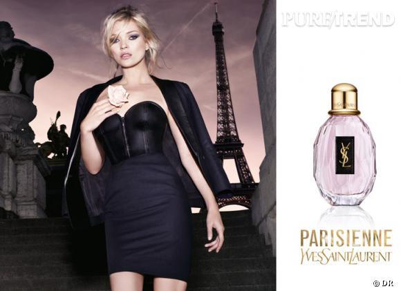 S'il devait y avoir un podium des égéries, Kate Moss serait sur la première marche. La top prête son image à un nombre incalculable de marques, dont Yves Saint Laurent pour le parfum Parisienne.