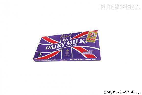 Cadbury encourage l'équipe anglaise avec une tablette aux couleurs de l'Union Jack.