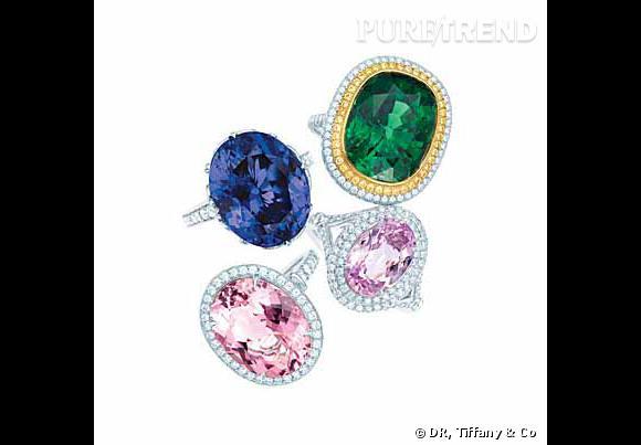 Bagues en platine et diamants, sertie d'une tanzanite ovales de 15.95 carats, d'une tsavorite ovale de 14.52 carats (et une bordure de diamants jaunes), d'une kunzite ovale de 4.14 carats, et d'une morganite ovale de 7.57 carats.