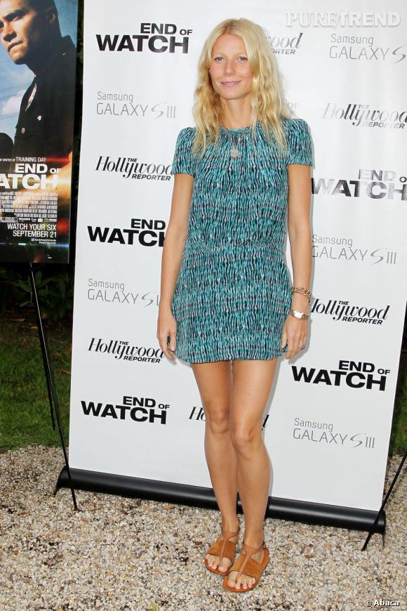 """Gwyneth Paltrow joue les beautés naturelles pour la projection de """"End of Watch""""."""