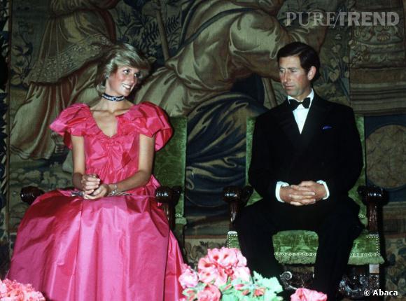 Lady Diana, fuchsia kitsch et mode au côté de son Prince Charles.