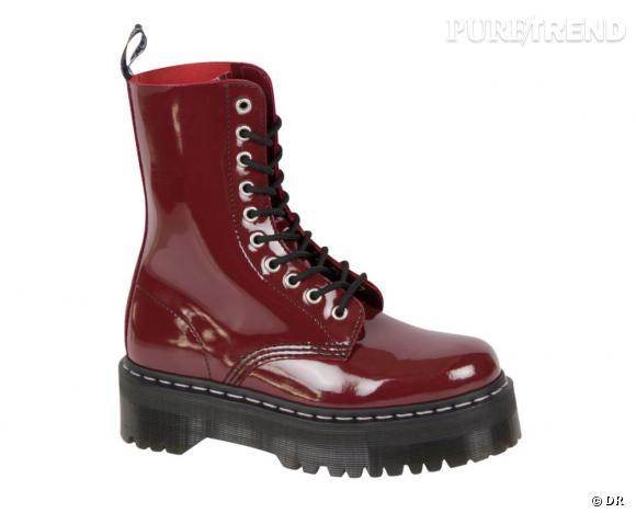 Dr Martens par Agyness Deyn :   Modèle Aggy 1490 10 Eye Red Cherry, 190 €