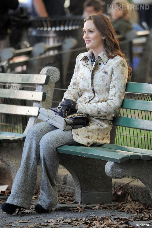 """Leighton Meester aka """"Blair Waldorf"""" sur le tournage de la saison 6 de Gossip Girl."""