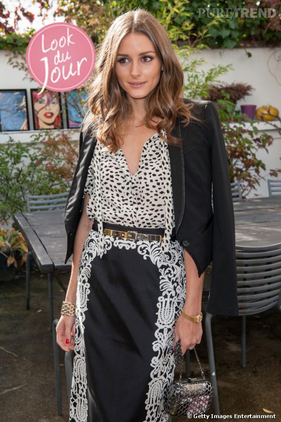 Olivia Palermo, un look zéro faute au lancement de la collection L'Aubrac de Mont Blanc à Paris.