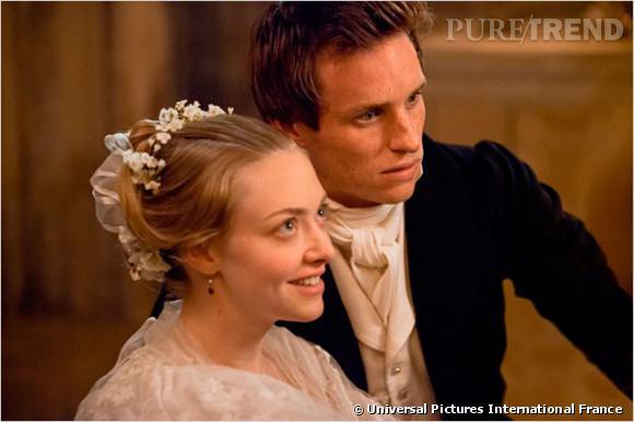 """Au casting du film """"Les Misérables"""" Amanda Seyfried et Eddie Redmayne dans les rôles de Cosette et Marius."""