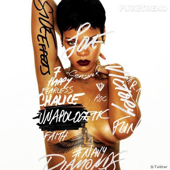 Rihanna sur la pochette de son septième album : Unapologetic.
