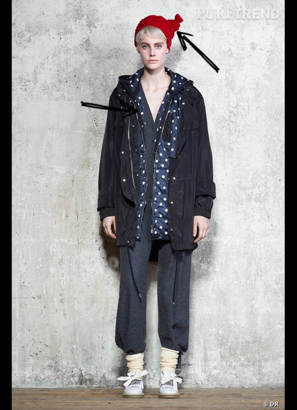 Comment porter le manteau cet hiver ?      Comme chez Sonia by Sonia Rykiel, on joue avec les codes urbains et régressifs en adoptant une parka noire doublée de pois.      Collection Automne-Hiver 2012/2013