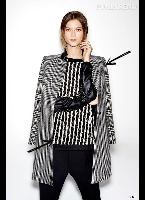 Comment porter le manteau cet hiver   Comme chez Zara on assume le mélange  des motifs 0fb030d0681
