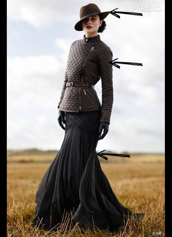 Comment porter le manteau cet hiver ?      Comme chez Alice Temperley x Barbour, la doudoune se fait chic associée à un chapeau et une jupe longue.      Collection Automne-Hiver 2012/2013