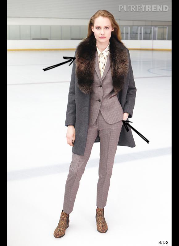 Comment porter le manteau cet hiver ?      Comme chez Claudie Pierlot on mise sur le col fourrure sur un manteau à l'allure masculine. A porter avec un costume.      Collection Automne-Hiver 2012/2013