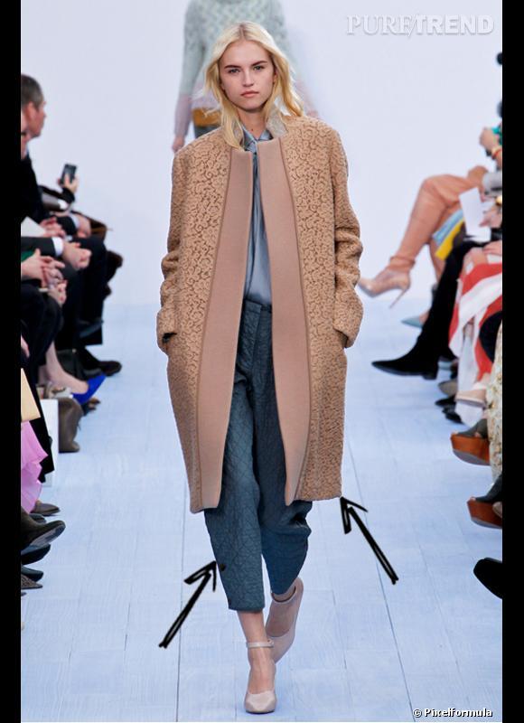 Comment porter le manteau cet hiver ?      Comme chez Chloé, la dentelle se fait hivernale et habille le manteau. A combiner avec un pantalon matelassé.      Défilé Automne-Hiver 2012/2013