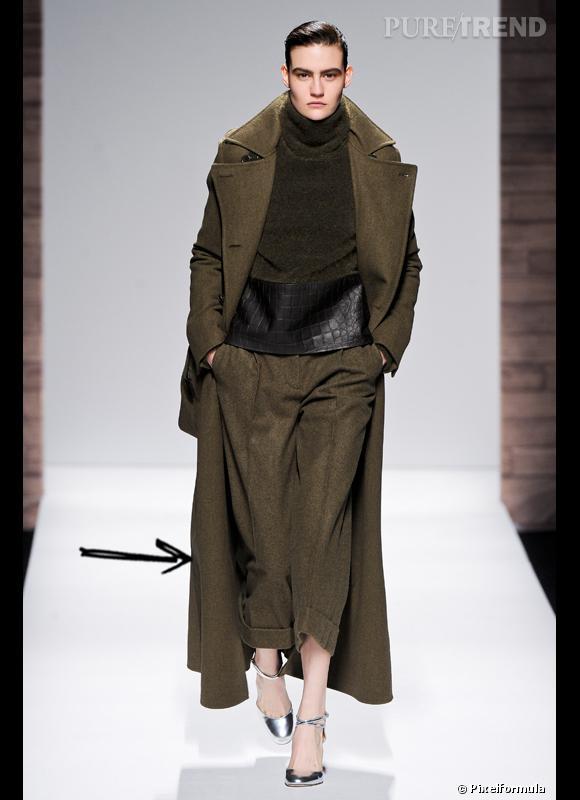 Comment porter le manteau cet hiver ?      Comme chez Max Mara on adopte la tendance militaire chic avec un manteau extra long couleur kaki.      Défilé Automne-Hiver 2012/2013