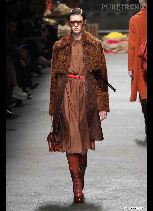 Comment porter le manteau cet hiver ?      Comme chez Trussardi on ose les matières exotiques.      Défilé Automne-Hiver 2012/2013