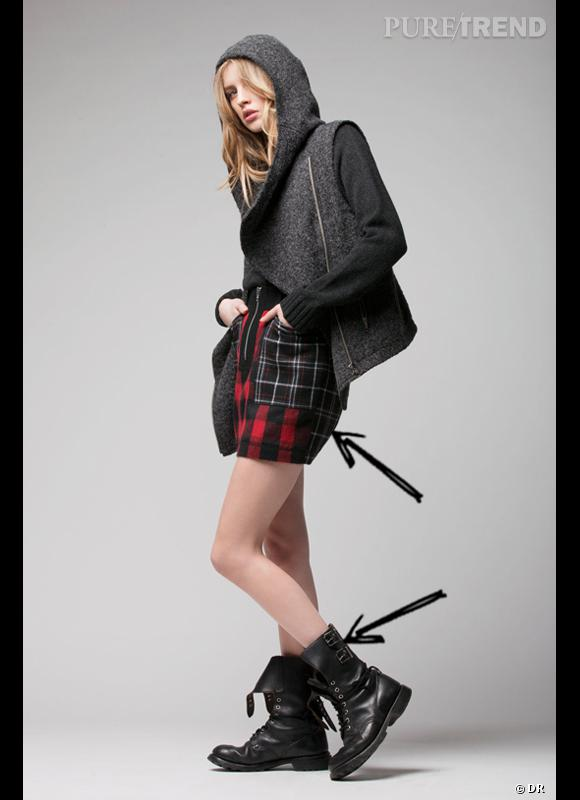 Comment porter les carreaux cet hiver ?      Comme chez April May les carreaux s'amadouent avec une pointe rock en mélangeant les style pour habiller une petite jupe.      Collection Automne-Hiver 2012/2013