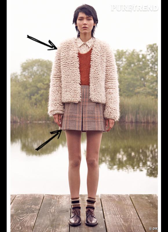 Comment porter les carreaux cet hiver ?      Comme chez Club Monaco on associe petite jupe à carreaux et manteau en moumoute.       Collection Automne-Hiver 2012/2013