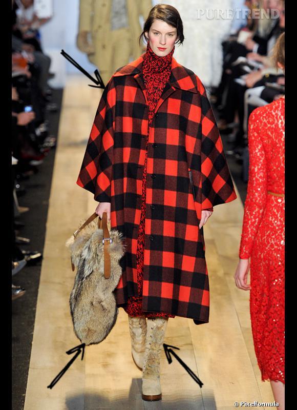 Comment porter les carreaux cet hiver ?      Comme chez Michael Kors, on adopte le carreau XXL noir et rouge, référence bûcheron pour un look de baroudeuse avec sac en fourrure.      Défilé Automne-Hiver 2012/2013