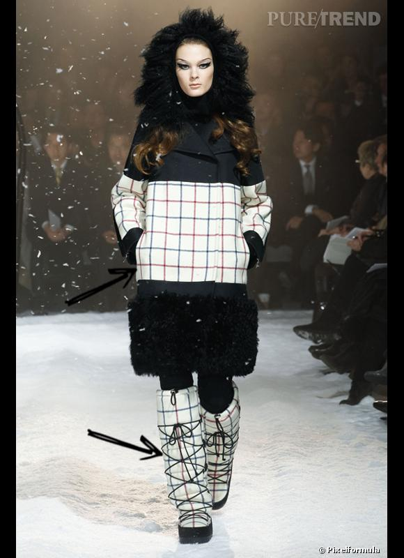 Comment porter les carreaux cet hiver ?      Comme chez Moncler Gamme Rouge on assume les temprétaures hivernales en osant les carreaux clairs, même sur ses boots, pour égayer sa silhouette.      Défilé Automne-Hiver 2012/2013