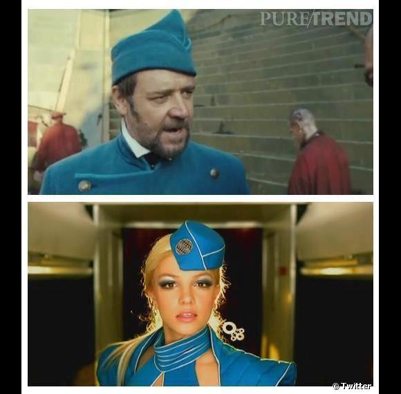 """C'est avec beaucoup d'humour que Britney Spears a tweeté un montage prouvant les ressemblances entre le costume de Russell Crowe dans """"Les Misérables"""" et son déguisement dans """"Toxic""""."""