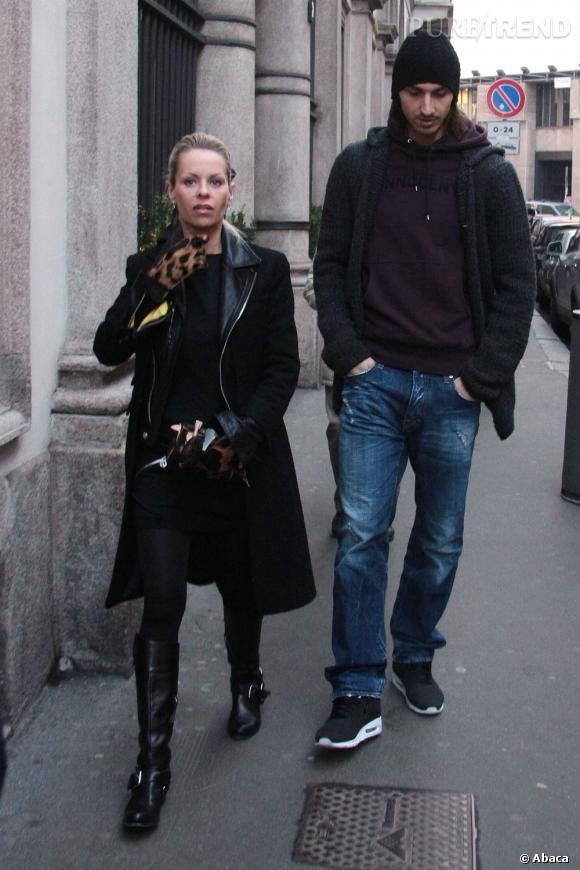 Zlatan Ibrahimovic et se femme Helena Seger à Milan : Jean pour lui, gants léopard pour elle, chacun son style.