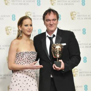 Jennifer Lawrence et Quentin Tarantino aux BAFTA 2013 à Londres.