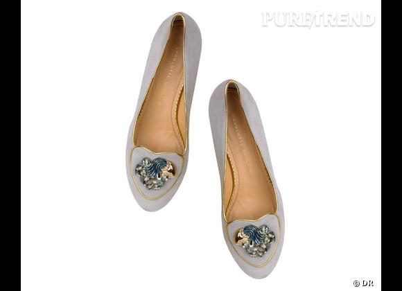"""Must have : slippers """"Birthday Shoes"""" Charlotte Olympia, 595 € Signe : Verseau"""