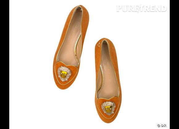 """Must have : slippers """"Birthday Shoes"""" Charlotte Olympia, 595 €    Signe : Lion"""