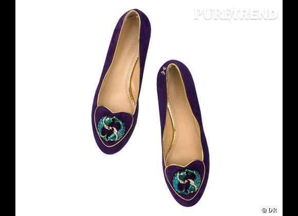 """Must have : slippers """"Birthday Shoes"""" Charlotte Olympia, 595 €    Signe : Poissons"""