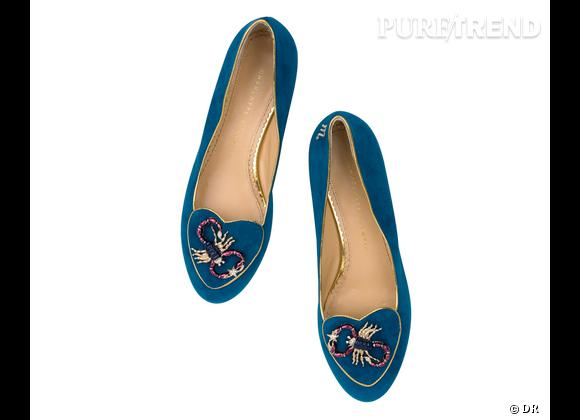 """Must have : slippers """"Birthday Shoes"""" Charlotte Olympia, 595 €    Signe : Scorpion"""