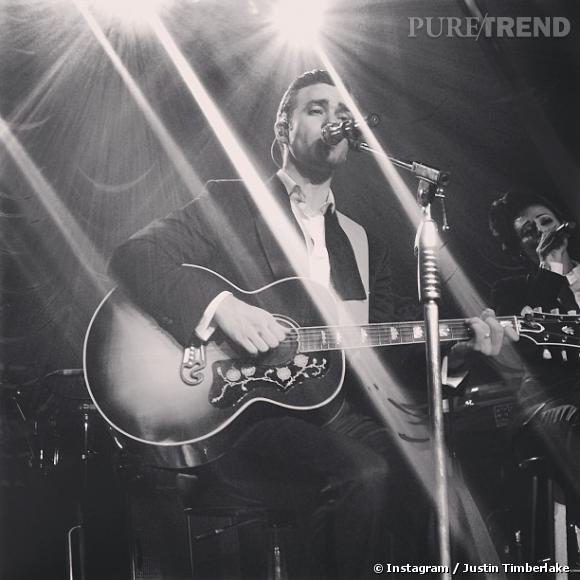 Justin Timberlake en concert lors d'une soirée post-Grammy Awards à Los Angeles le 10 février.