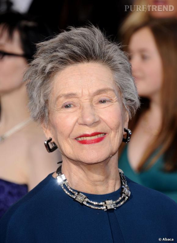 L'Oscar 2013 du meilleur poivre et sel :  Emmanuelle Riva, 86 ans, resplendit sur le tapis rouge des Oscars.