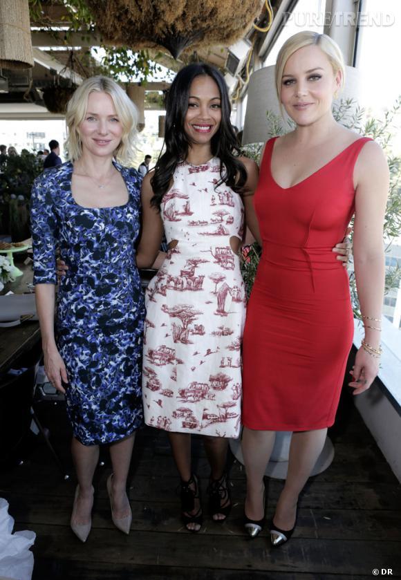 Naomi Watts, Zoe Saldana et Abbie Cornish au déjeuner Hollywood Reporter et Jimmy Choo.